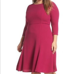 Eliza J berry crepe fit and flare dress